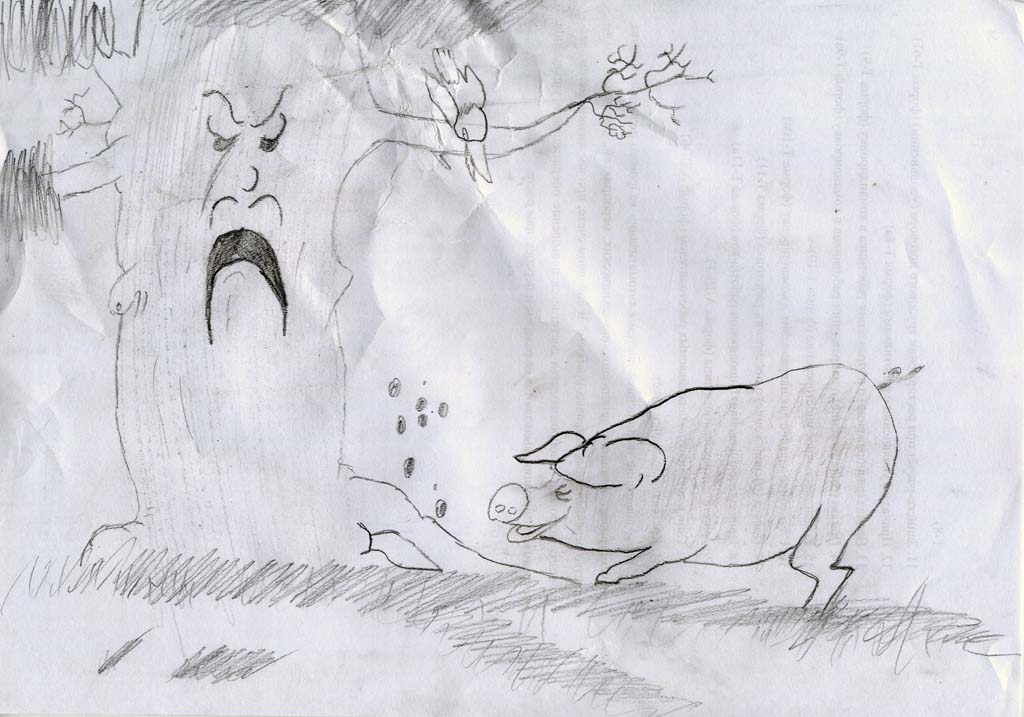 Нарисовать, рисунок к басне свинья под дубом